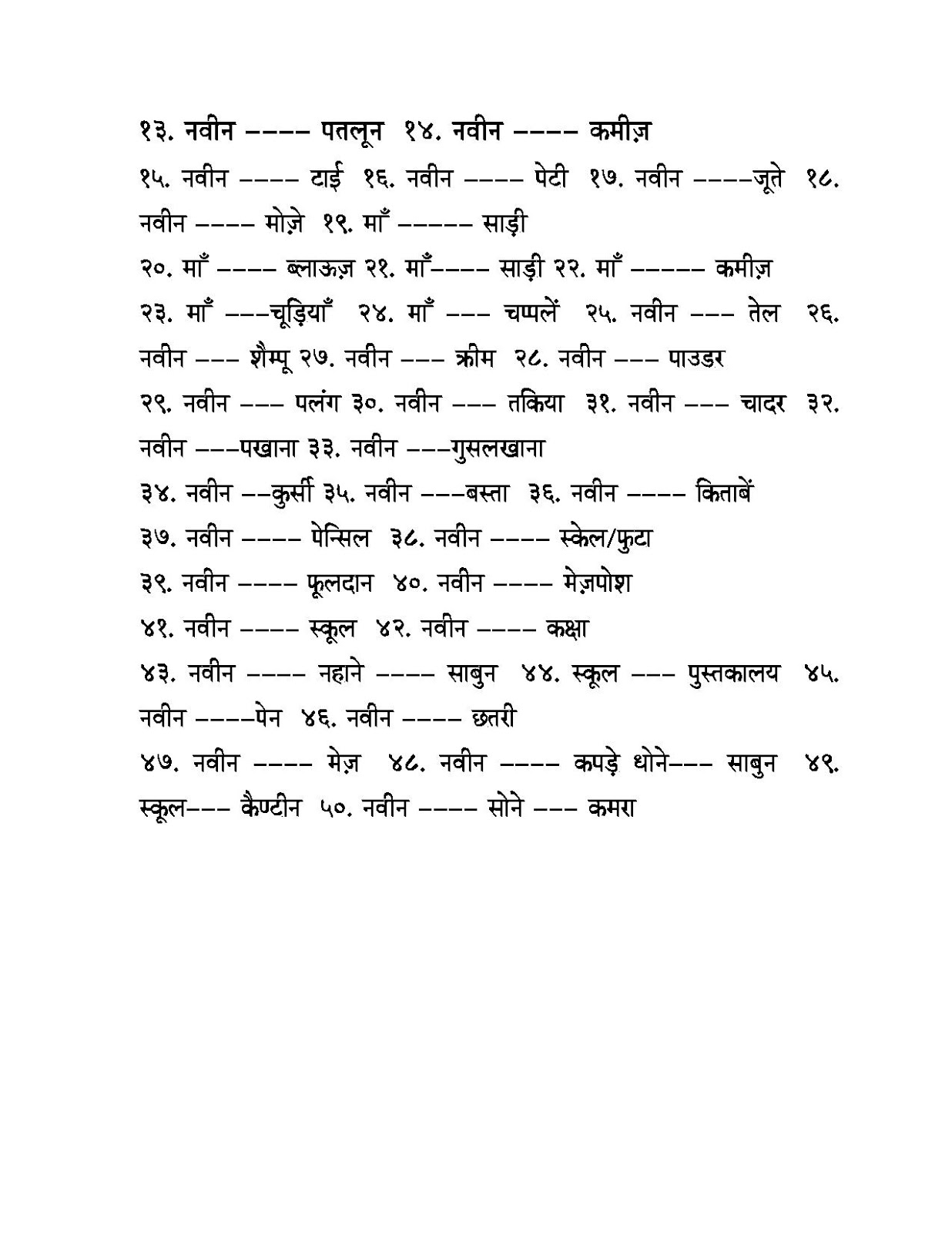 Worksheet On Pronouns In Hindi