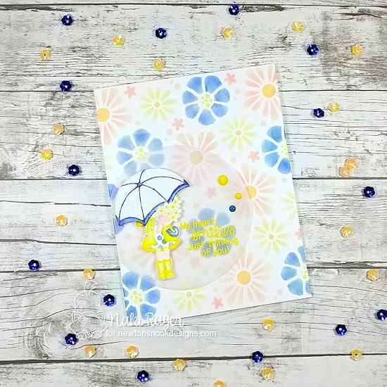 Spring card with umbrella by Nakaba Rager | Loads of Blooms Stamp Set and Bold Blooms Stencil by Newton's Nook Designs