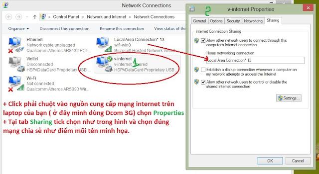 h4 - Phát Wifi trên Lap dùng windows 8 đơn giản