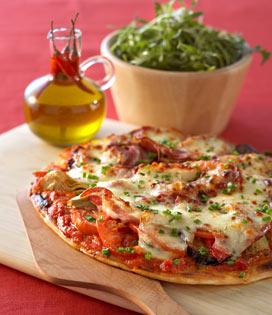 recette Pizza à la pancetta et légumes confits à la mozzarella