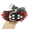 Didog Spiked Studded Leather Dog Collar - Black 17-20