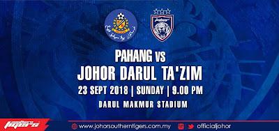 Live Streaming Pahang vs JDT Piala Malaysia 23.9.2018