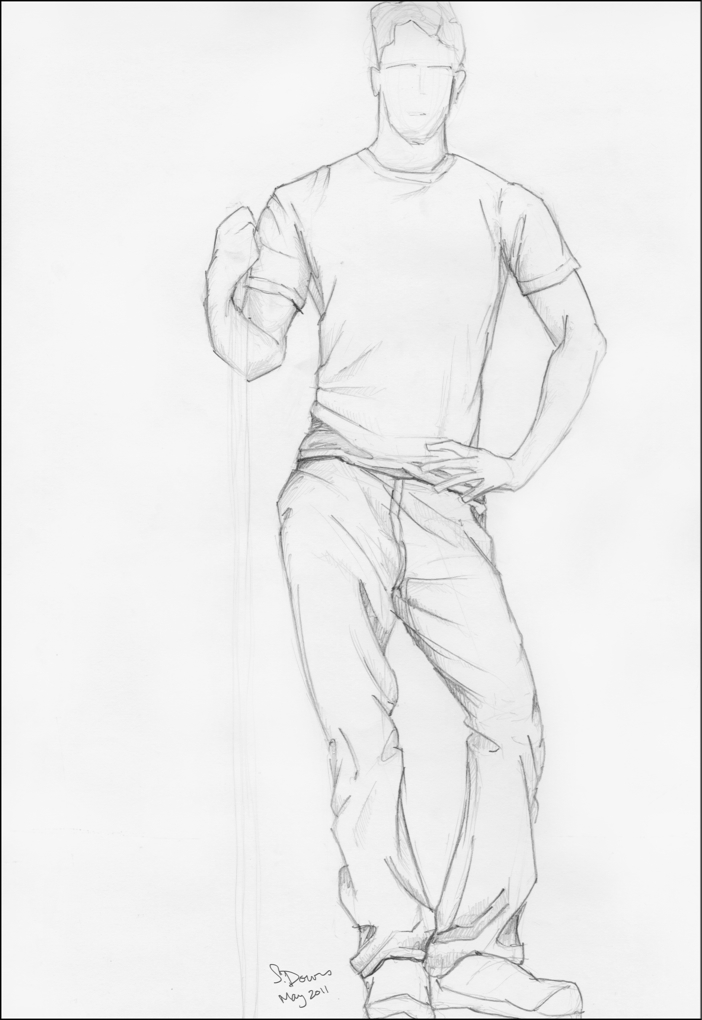 How to draw man standing up