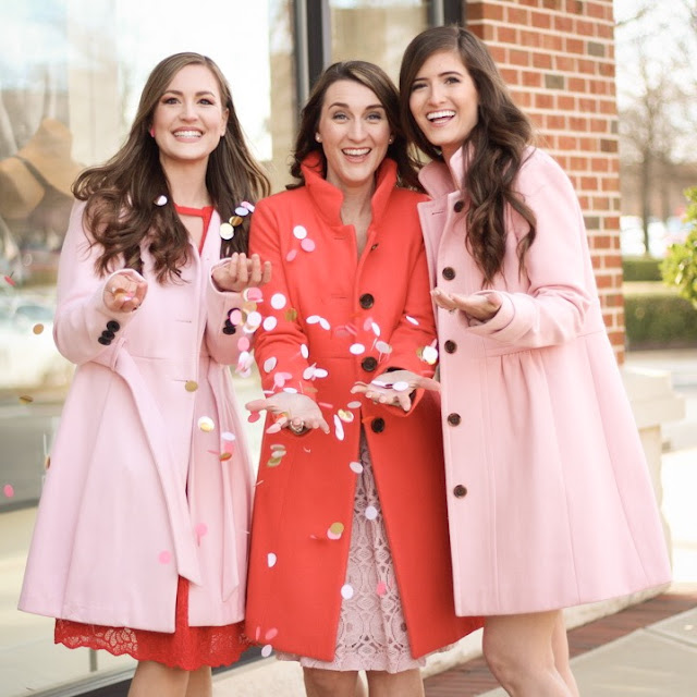 Galentine's Day//Cookies//Friendship//Pink Dress//Red Dress//Pink Coats//Heart Balloons//Confetti