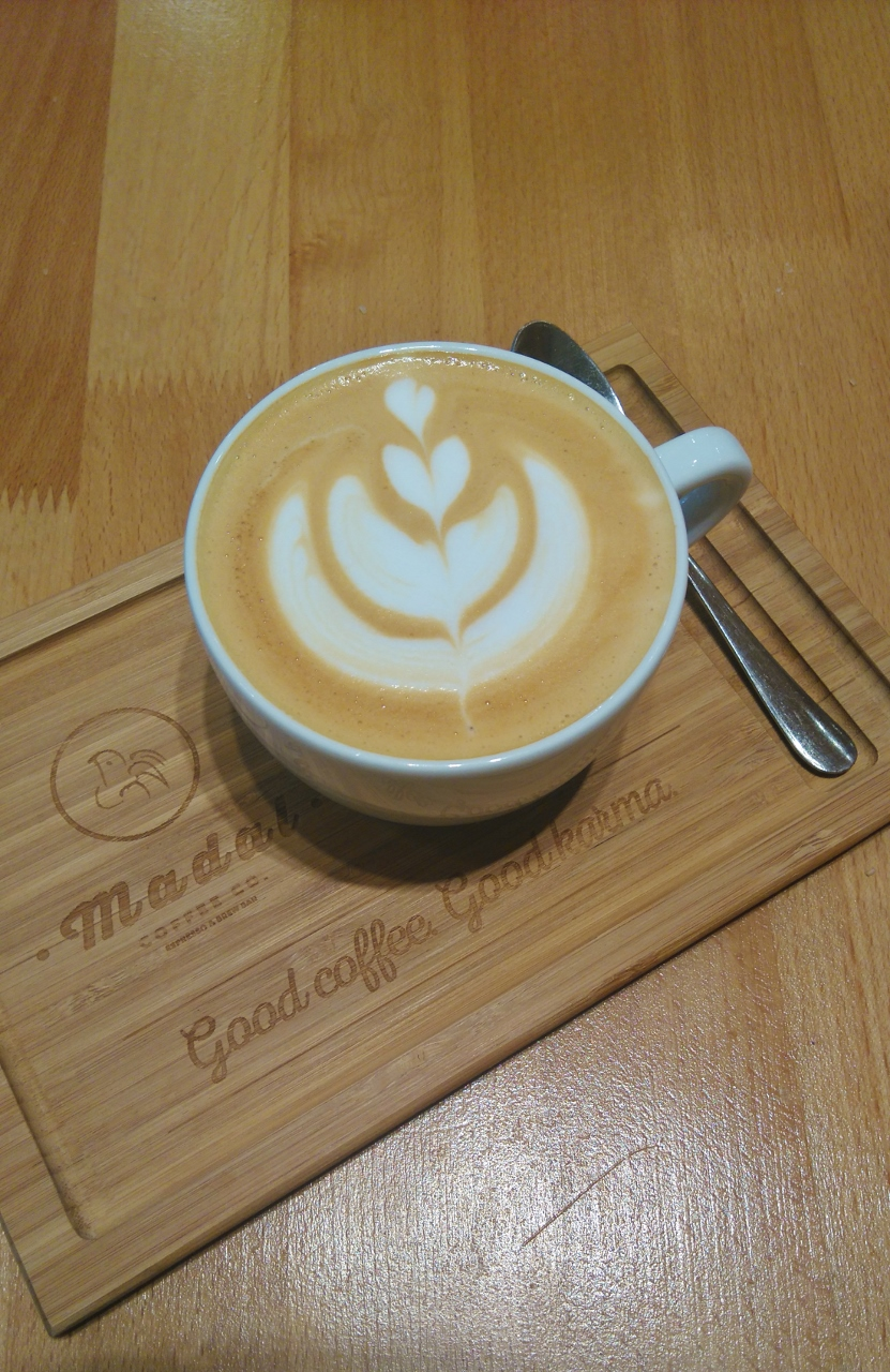 Latte art in coffee shop in Budapest