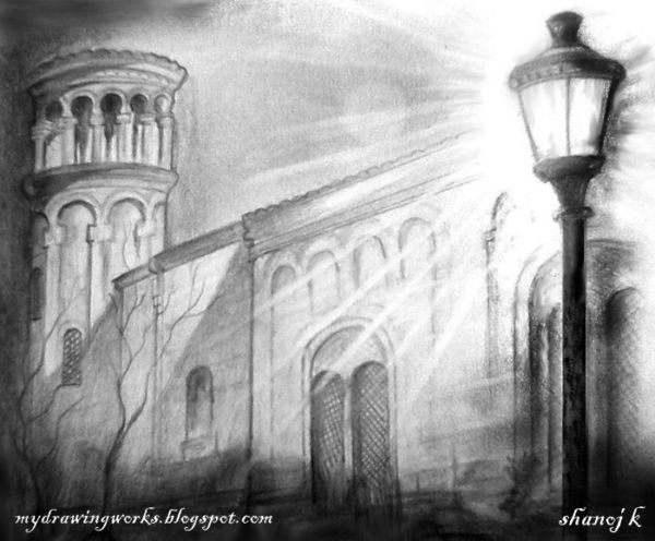 A building at night-Pencil drawing || RAINBOW - The Colour ...