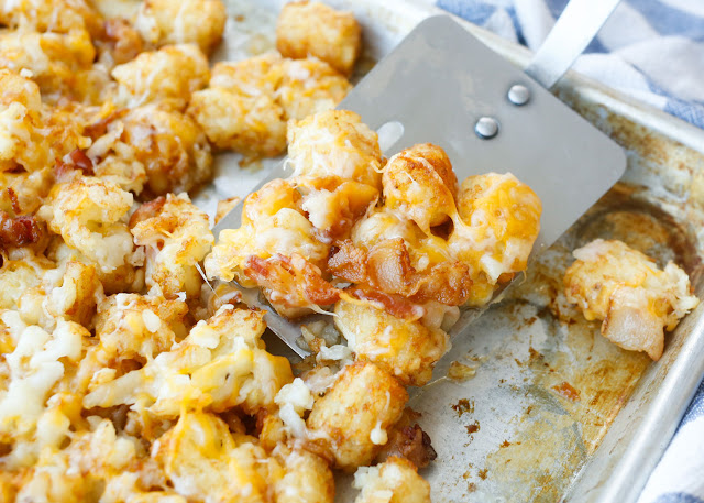 Cheesy Bacon Tater Tots - get the recipe at barefeetinthekitchen.com