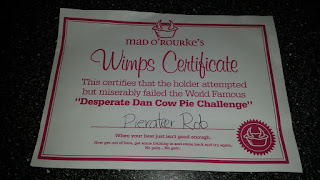 Desperate Dan Cow Pie Certificate