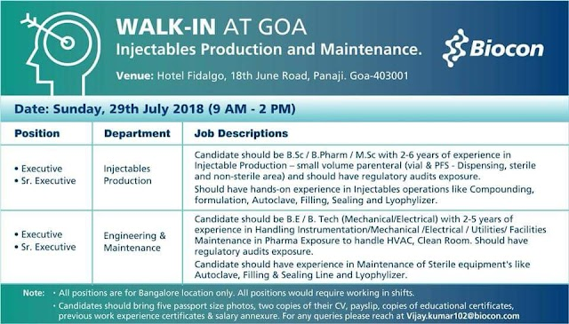 Walk-in for injectables production at Biocon