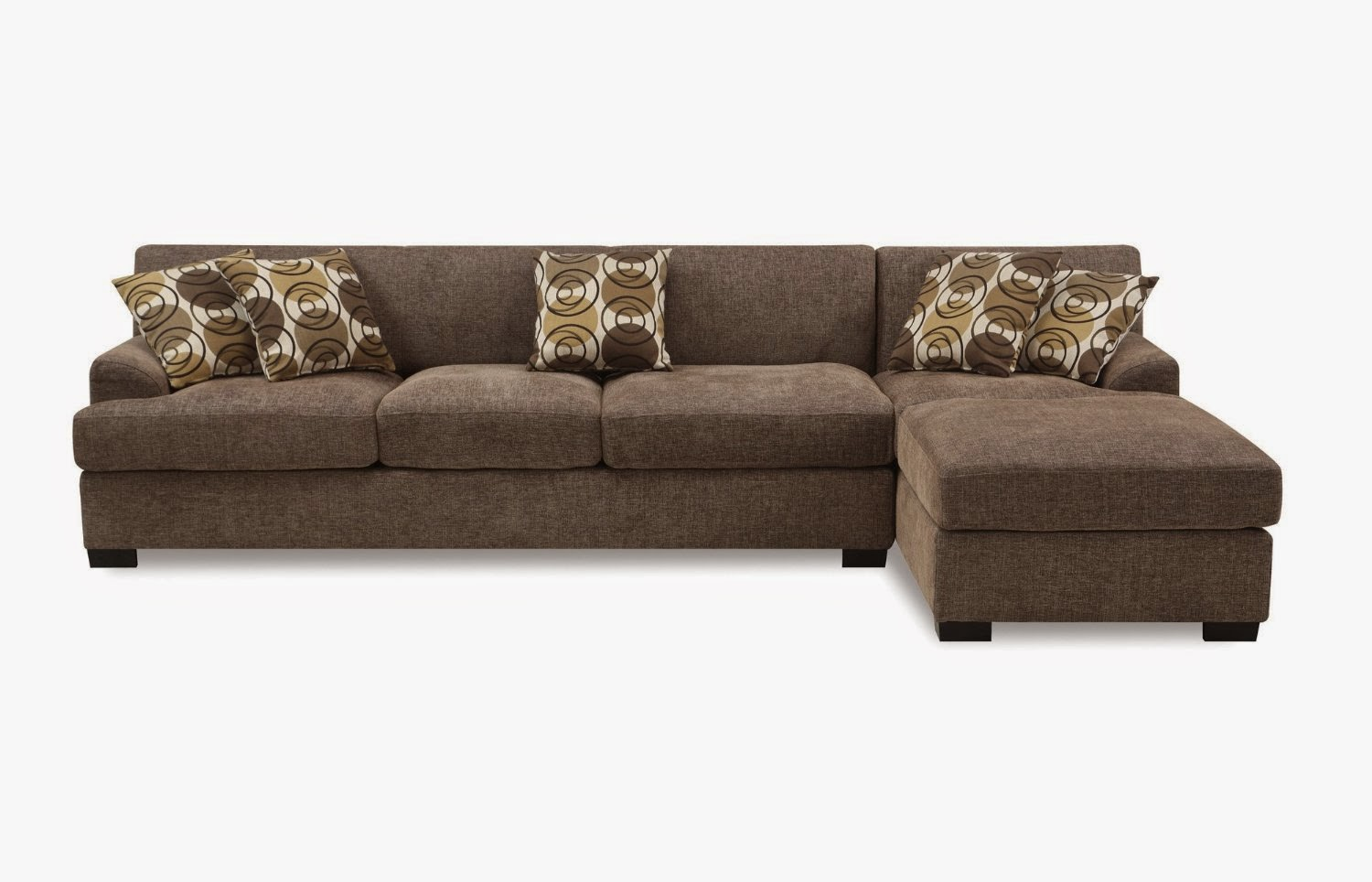 Bobkona Poundex Benford Collection Faux Linen Chaise Sofa