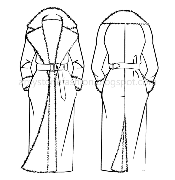 Faux Fur Lined Overcoat Flat Fashion Templates 0171