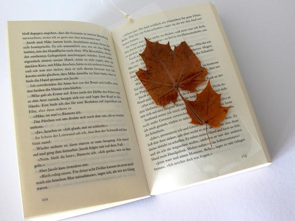 DIY Buchlesezeichen mit Herbstblättern aus Laminierfolie