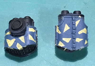 Legio Tempestus Dazzle Camouflage WIP on Adeptus Titanicus Reavers