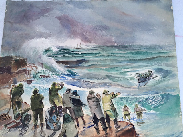yacht rescue painting by Francis Quirk of Maine