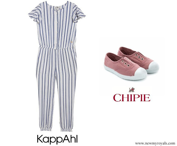 Princess Estelle wore KappAhl Hampton Republic Striped Jumpsuit and CHIPIE scarpe sneakers