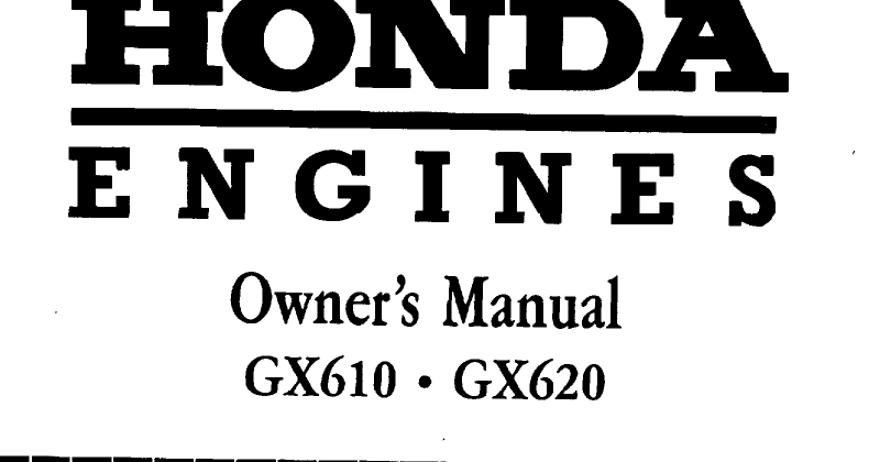 Honda gx620 Service/Owner manual at Service Manual