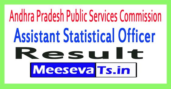 APPSC Assistant Statistical Officer Result 2017
