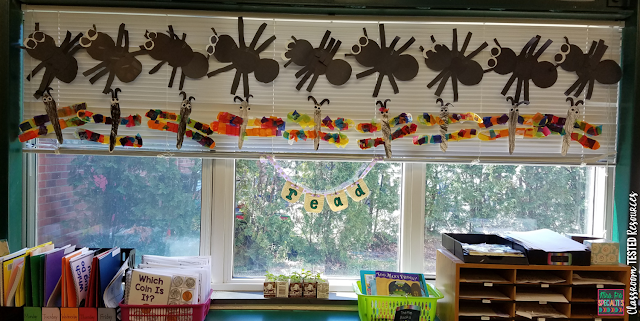 Here is an alternative to having to deal with hanging bulletin board paper and border. Use the window blinds instead!