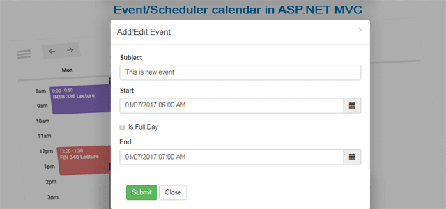 CRUD operation on fullcalendar in ASP.NET MVC