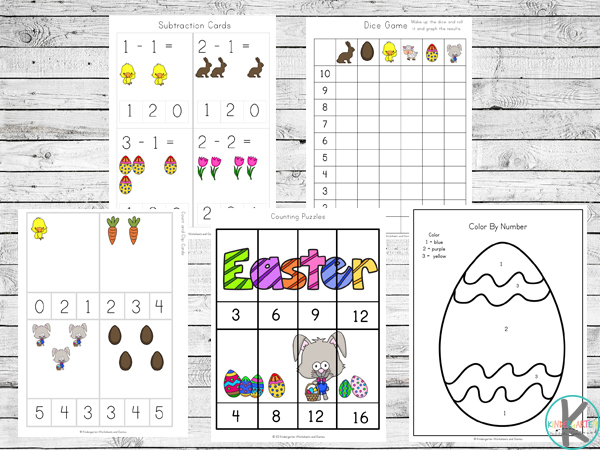 Easter Worksheets including subtraction clip cards, graphing, skip counting puzzles, and color by number all featuring carrots, mice, eggs, chicks, chocolate bunny, and tulips