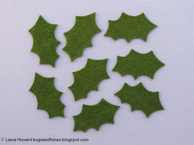 felt holly leaves