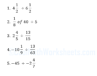 Fractions Division worksheets