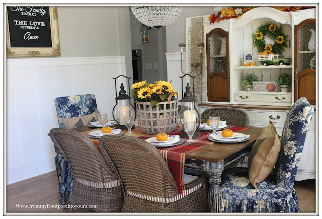 French Farmhouse Style Fall Dining Room-Steeple Lanterns-Decor Steals-Basket of Sunflowers-From My Front Porch To Yours