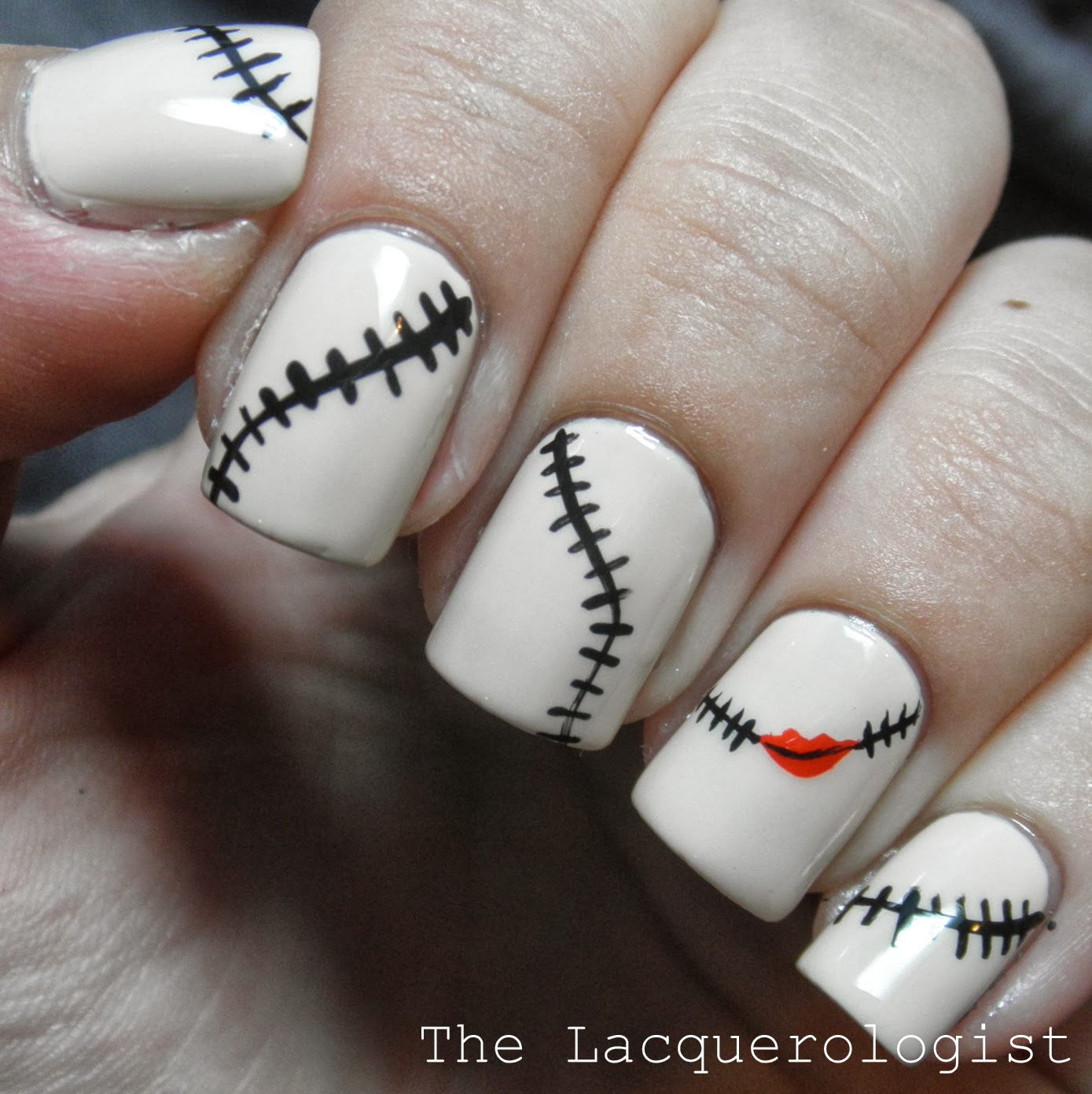 Halloween Nail Art The Nightmare Before Christmas Sally Inspired