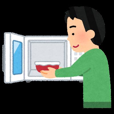 レンジにお皿を入れる人のイラスト