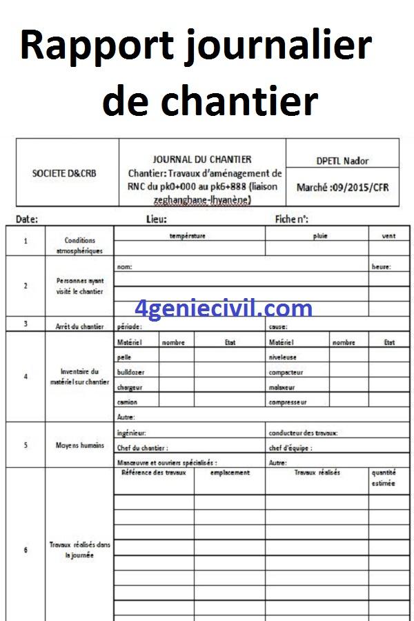 Télécharger Exemple De Modèle De Rapport Journalier De