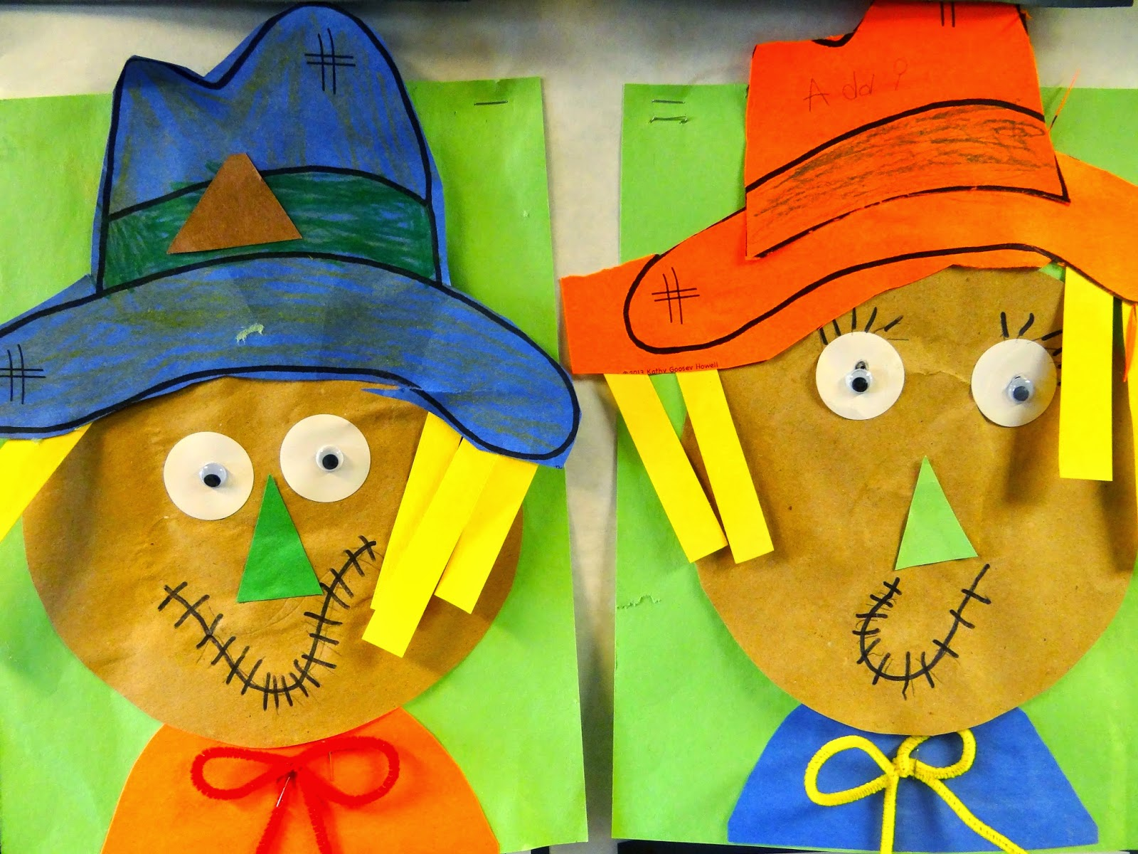 scarecrows%2B061 Kindergarten And First Grade Art Projects on using shapes, end school, for kindergarten, fall scarecrow, one day, cutest beginning year, eric carle,