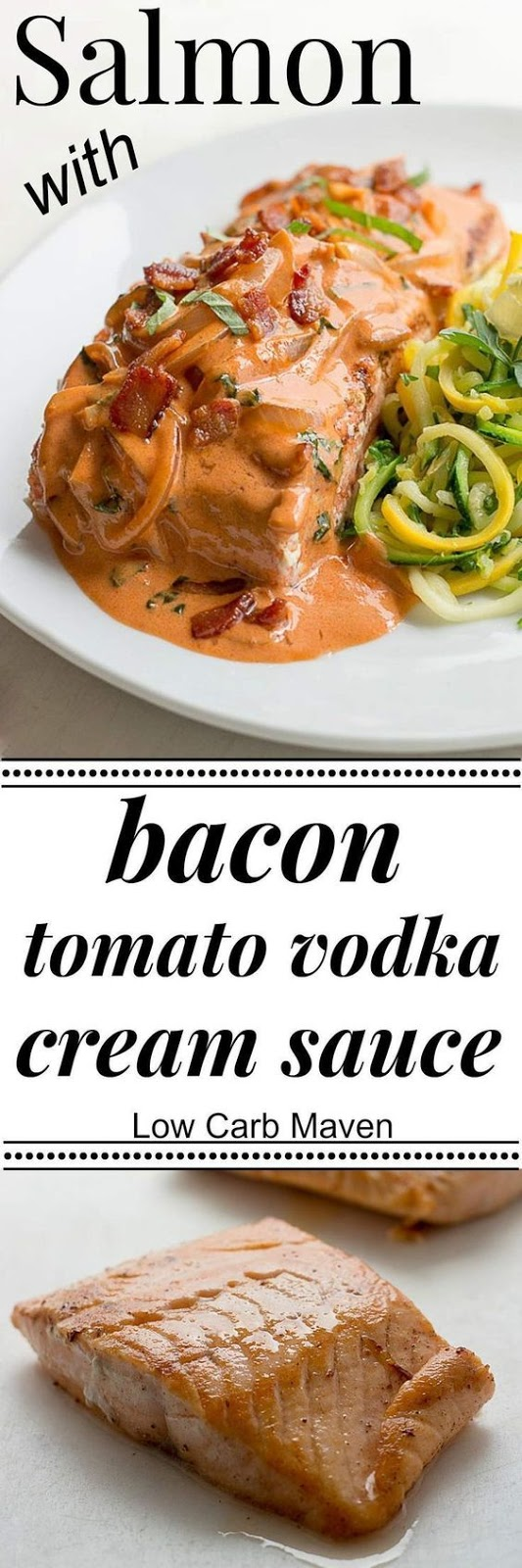 LOW CARB SALMON WITH BACON TOMATO CREAM SAUCE
