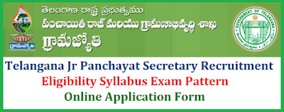 Telangana Junior Panchayat Secretary Recruitment 2018 Notification for Junior Panchayat Secretary Posts in Panchayat Raj Department , Positions, Education  Qualifications Eligibility Criteria Telangana ts-9355-junior-panchayat-secretary-vacancies-recruitment-syllabus-apply-online-Hall-Tickets-key-results-tspri.cgg.gov.in-download | Official Web porta for Telangana Jr panchat Secretary 9355 Posts Detailed Notification is https://tspri.cgg.gov.in/ of Telangana State Panchayat Raj and Rural Development Department Website for Scheme of Examination Syllabus Exam Pattern Syllabus Online Application form Submission Dates. TS to fill 93553 Junior Panchayat Secretary posts in Panchayat Raj Department 9355 junior panchayat secretaries have been sanctioned in Telangana Panchayat Raj Department.Government hereby accord permission to fill (9355) Nine Thousand Three Hundred and Fifty Five vacant posts