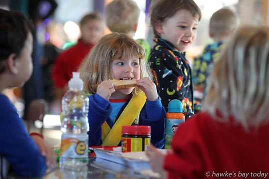 Kids and teachers wore their pyjamas to a Matariki breakfast at Te Mata Kindergarten, Havelock North. photograph