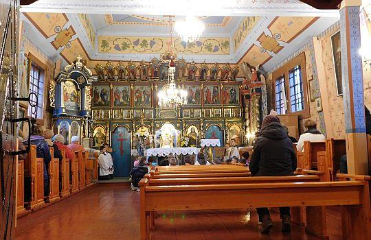 Wnętrze cerkwi w Muszynce.