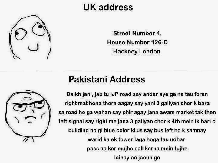 funny difference between united kingdom and pakistan home address
