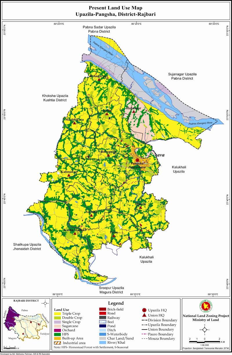Pangsha Upazila Mouza Map Rajbari District Bangladesh