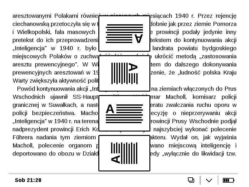 PocketBook Basic Touch 2 Save & Safe umożliwia obracanie tekstu