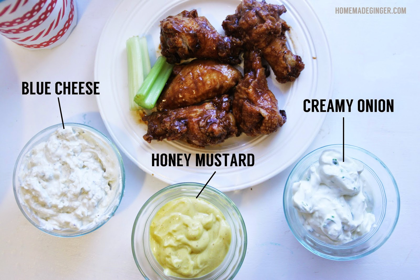 hot wings and dipping sauces