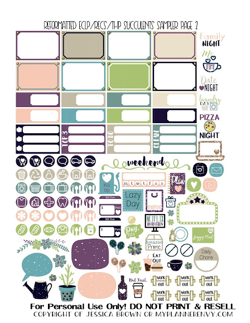 Free Printable Reformatted Succulents Sampler Page 2 for the Vertical Erin Condren, Recollections Creative Year, and Classic Happy Planners from myplannerenvy.com