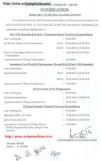 Anna University Apr.May.June. 2016 Theory, Practical, Project Viva-Voce Examinations - Schedule