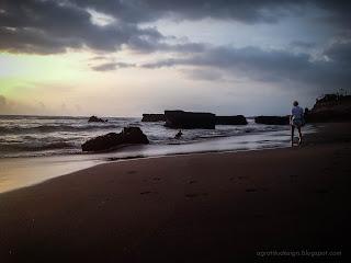 Enjoy Sunset Panorama By The Beach At Batu Bolong Beach, Canggu Village, Badung, Bali, Indonesia