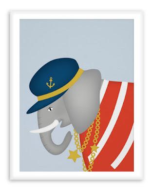 Sailor Elephant - Nautical Nursersy Print