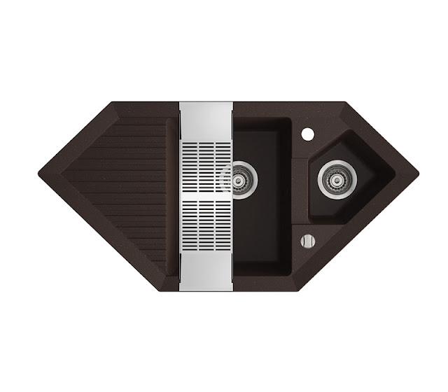 Chiuveta de bucatarie neagra din granit compozit 1 cuva si picurator, reversibila