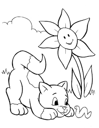 Cat on Garden Flower Coloring Pages