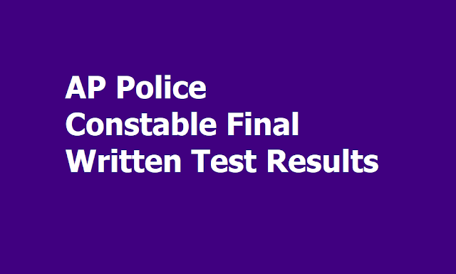 AP Police Constable Final Written Test Results, Merit List Results 2019, OMR Answer sheets download
