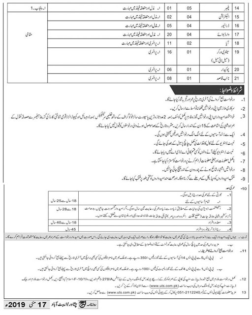 AFIR Rawalpindi jobs 2019 UTS Application Form Download Online