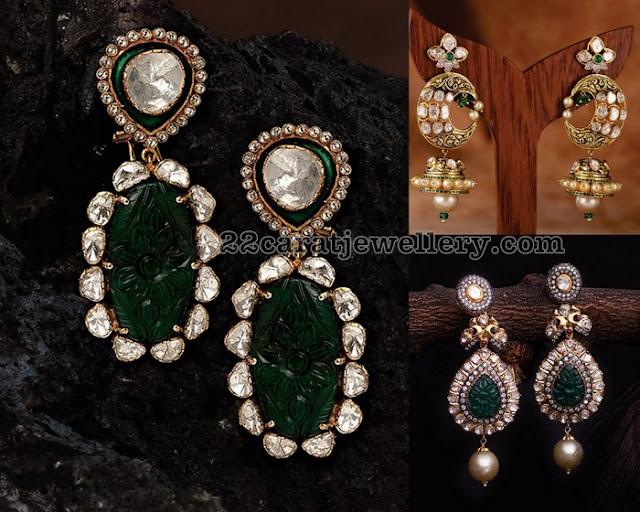 Diamond Emerald Earrings by Neetti Jewels