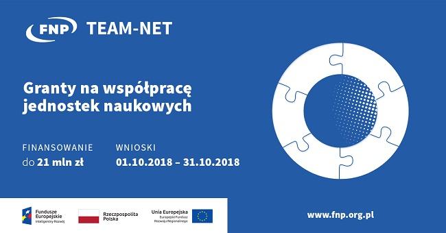 Grafika informacyjna o konkursie TEAM-NET od Fundacji na rzecz Nauki Polskiej - materiały organizatora