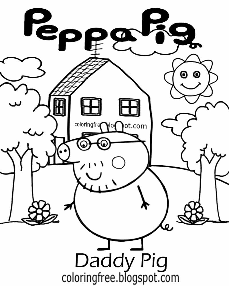 cool things to color in playgroup drawing ideas daddy pig peppa pig printables easy coloring picture - Things To Color
